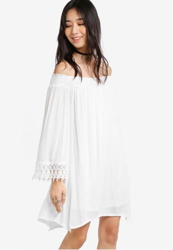 Something Borrowed white Lace Trim Off Shoulder Dress 8ADAAAA1234D7EGS_1