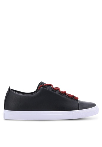 ZALORA black Faux Leather Sneakers with Flat Lace E0508SH6FF709CGS_1