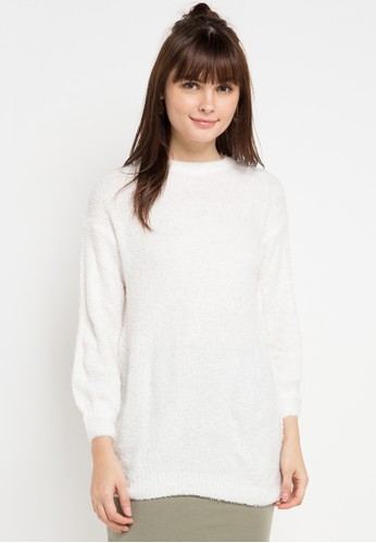 COME white Oversized Furry Sweater 1150FAAB197488GS_1