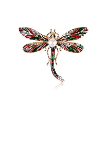 Glamorousky white Fashion and Simple Plated Gold Red and Green Dragonfly Imitation Pearl Brooch with Cubic Zirconia 0C572ACF425FF2GS_1