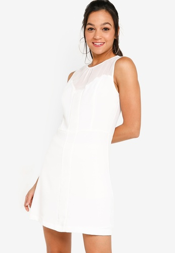 ZALORA YOUNG white Chiffon Panel Fit And Flare Dress C515BAA77851B7GS_1