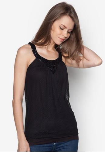 Baizalora 衣服評價sha 繞脖閃飾蕾絲上衣, 服飾, 服飾
