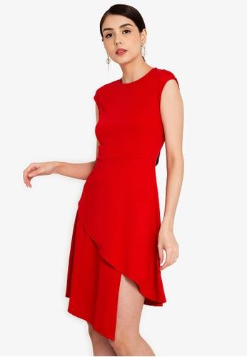 ZALORA WORK red Origami Hem Dress E1061AA49D4F31GS_1