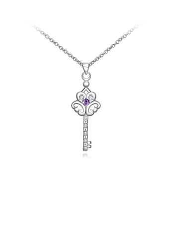 Glamorousky purple Fashion and Elegant Key Pendant with Purple Cubic Zircon and Necklace 85A8DAC8352A7FGS_1