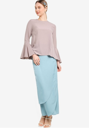 Lubna blue and brown Flare Sleeve Kurung With Tulip Skirt 74E7AAA39781CBGS_1