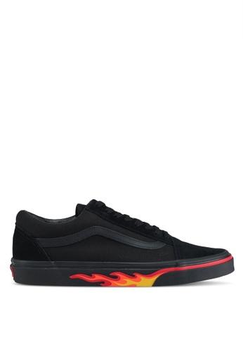 VANS black and red Old Skool Flame Wall Sneakers VA142SH0SWPYMY_1