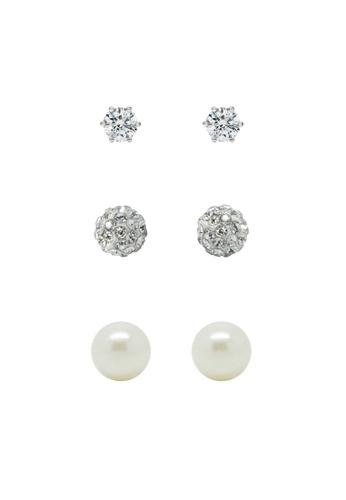 Fur Nyce white Pearl Elegant Stud Earrings Set FU779AC41NOGMY_1