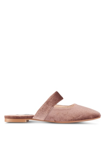 ZALORA brown One Strap Covered Flats 9D484SHEE10551GS_1