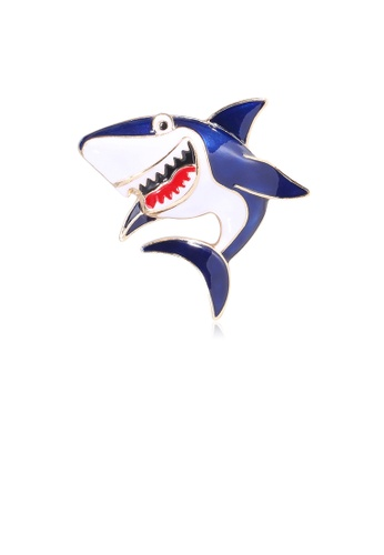 Glamorousky silver Simple and Cute Blue Shark Brooch D2838AC58DABCEGS_1