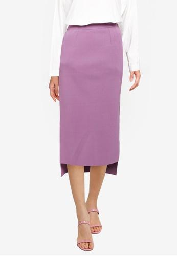JEANASIS purple Knitted Pencil Skirt 8E77DAACC12C10GS_1