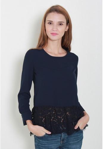 Leline Style blue Velle Lace Blouse LE802AA96UOHSG_1