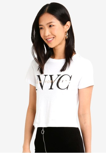 Forever New white Talia New York City Slogan Crop Top A9506AA07CE7D0GS_1