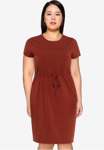 Vero Moda brown Plus Size Cotbelow Knee Dress AD5DAAA0FBB6B2GS_1