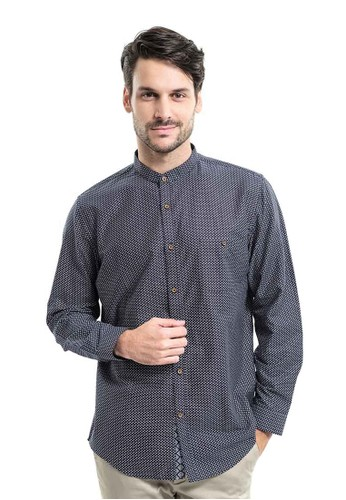 MANLY navy MANLY Chain Dark Blue Slim Fit Pattern Shirt Long Sleeve 4E19EAA43EC1F7GS_1