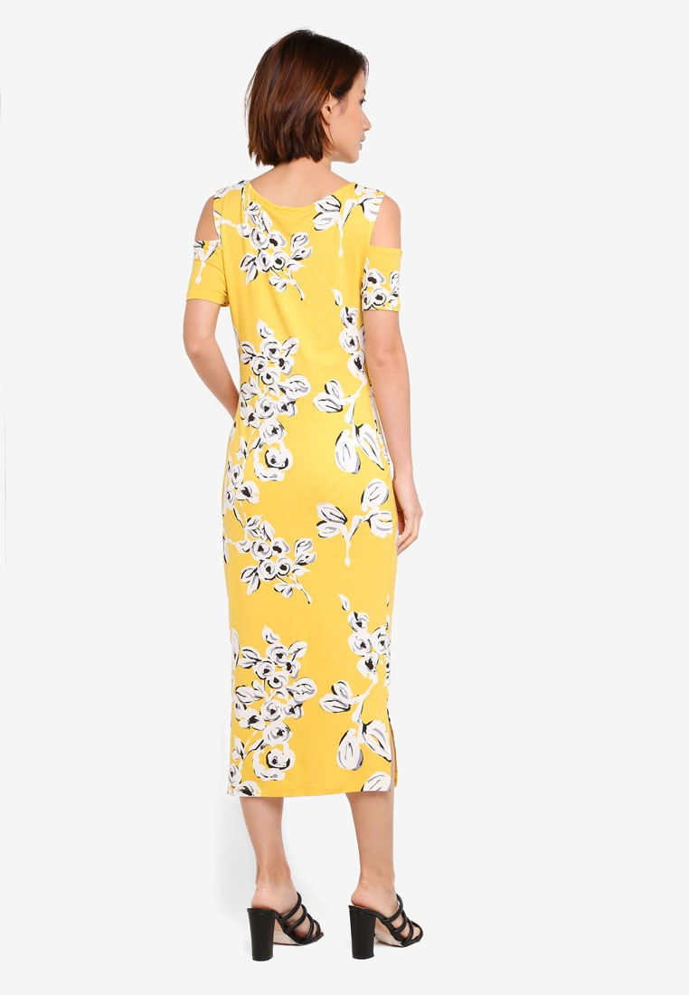 Bébé Yellow Maternity Maman Floral Dress Midi JoJo xHTpPX