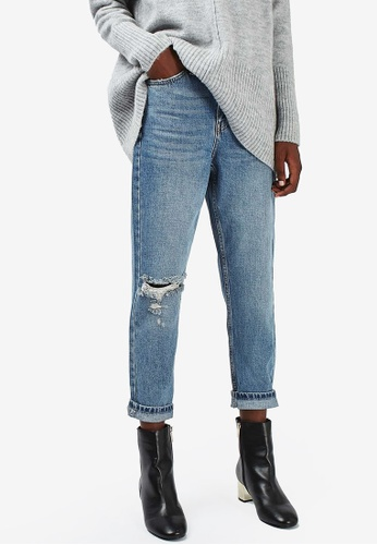 TOPSHOP blue Petite Rip Mom Jeans TO412AA93JEWMY_1