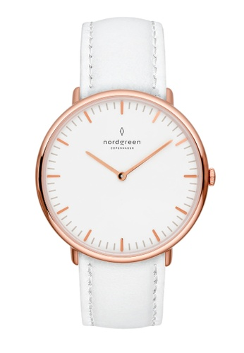 Nordgreen white and gold Nordgreen Native Rose Gold 36 mm - Nordic White Leather Watch DC755AC82BC1B2GS_1