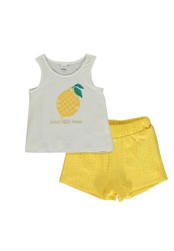 LC Waikiki beige Baby Girl's Printed T-Shirt and Shorts 37018KAFCB77E8GS_1