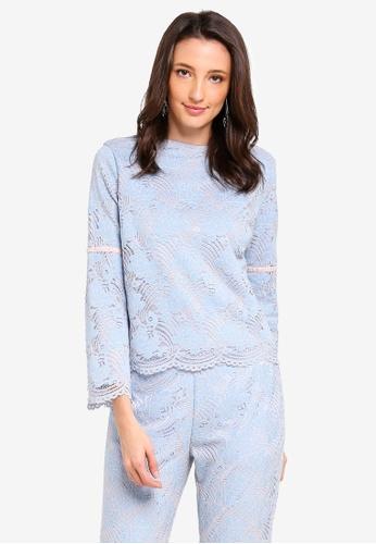 Zalia blue Lace Cape Top with Velvet Trim 11E22AA6AB0CA4GS_1