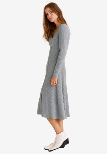 Mango grey Ribbed Buttonned Dress 62AA0AA84CC0B3GS_1