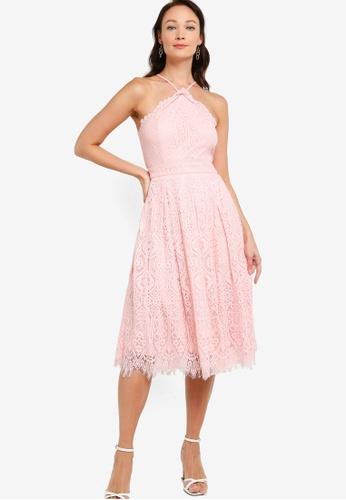 ZALORA OCCASION pink Halter Neck Midi Dress B7A6EAADDCCC04GS_1