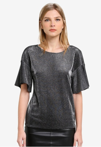 WAREHOUSE silver Metallic Frill Sleeve Top WA653AA0S4PSMY_1