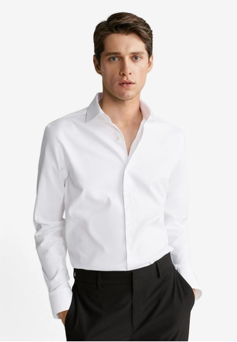 MANGO Man white Slim Fit Tailored Cotton Shirt 6BCDEAA9BF9183GS_1