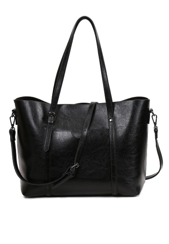 1bf1b32d5880 A FRENZ black Women s Vintage Style PU Leather Work Tote Large Shoulder Bag  AFB06AC0A00EFBGS 1