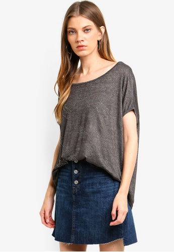 Brave Soul grey Oversize T-Shirt With Dragonfly In Diamantes 9862FAA92E9954GS_1