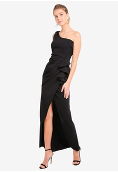 449dbe59216b5 30% OFF Goddiva One Shoulder Maxi With Frill Pleat RM 259.00 NOW RM 180.90  Sizes 10 12 14 16