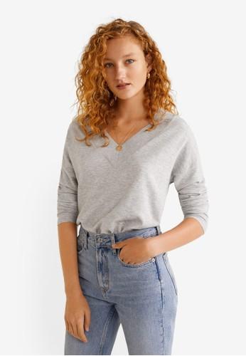 MANGO grey V-Neckline Sweater 25D54AA4BCF0AEGS_1