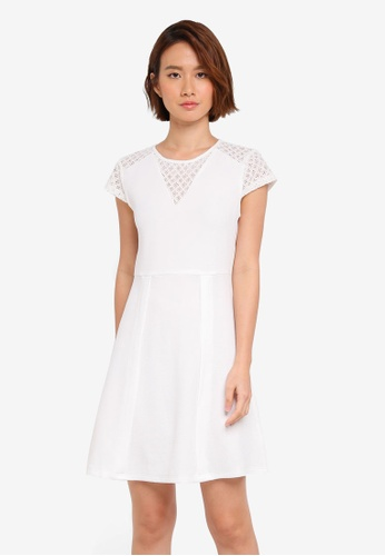 ZALORA white Cap Sleeve Fit & Flare Dress C62DDAA17BF86AGS_1