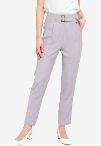 ZALORA WORK 灰色 Self Fabric Belt Pants 430D5AA5228D42GS_1