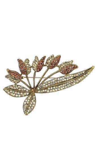 Red's Revenge orange Floral Bunch Diamante Brooch 566E1AC1856051GS_1
