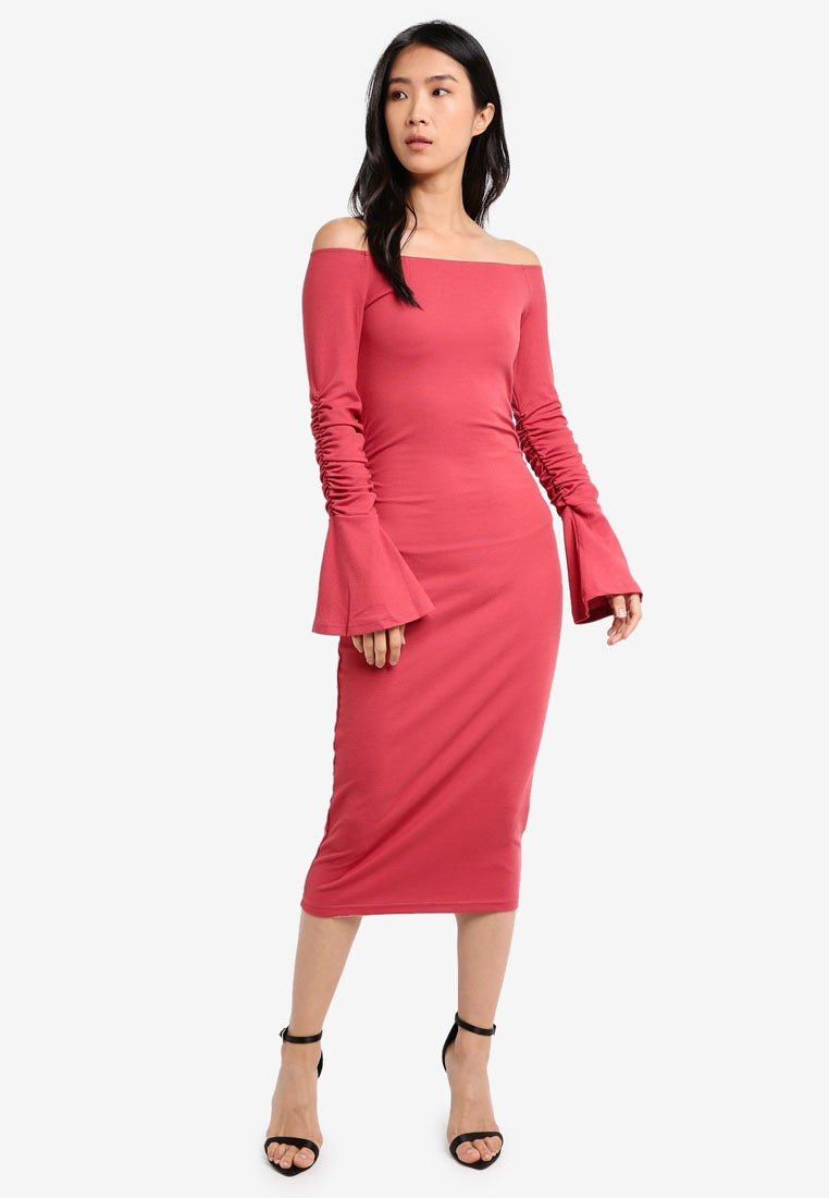 LOST Jersey INK Coral Bardot Dress dUOnzqxEE