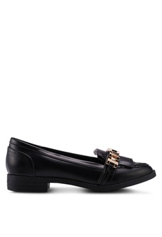 MISSGUIDED black Chain Tassle Loafers 0582BSHB5D5773GS_1