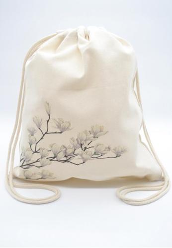 The Twinees white Blooming Gardenia Flowers Drawstring Bag TH572AC88GLRSG_1