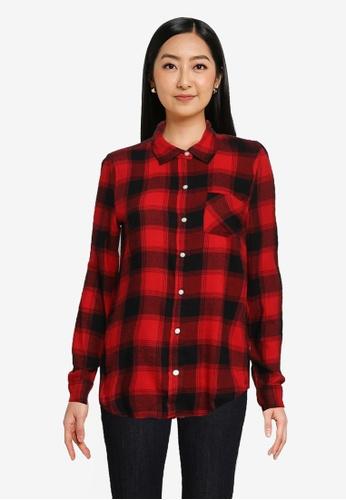 GAP red Long Sleeve Drapey Plaid Shirt EE3B8AAECA953AGS_1