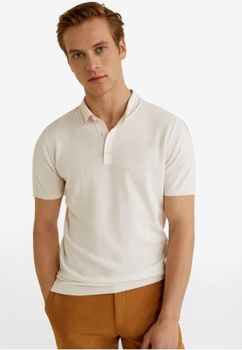 Mango Man 白色 針織棉 POLO衫 0B4E6AA2DADF80GS_1