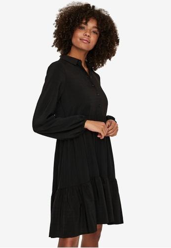Vero Moda black Drina Long Sleeve Short Dress 8AB0CAAAB24870GS_1