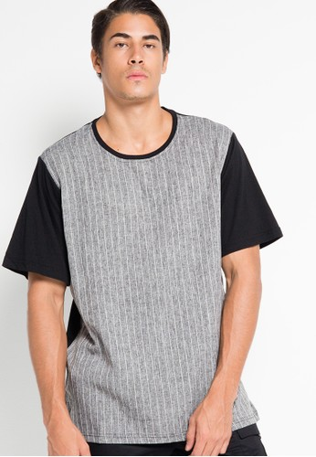 Textured Stripe Mix Fabric Boxy Tee