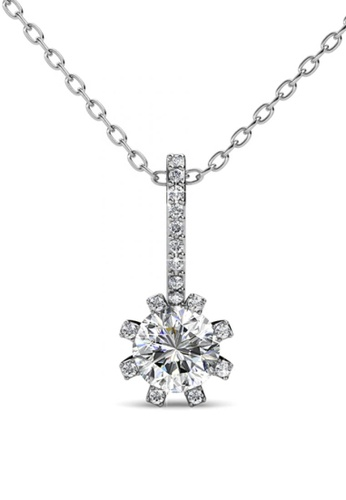 Her Jewellery silver Her Jewellery Floral Sun Pendant (White Gold) with Necklace Chain with 18K Gold Plated HE210AC03DTSSG_1