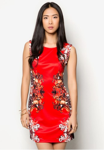 撞色印花zalora鞋子評價拼接連身裙, 服飾, 服飾
