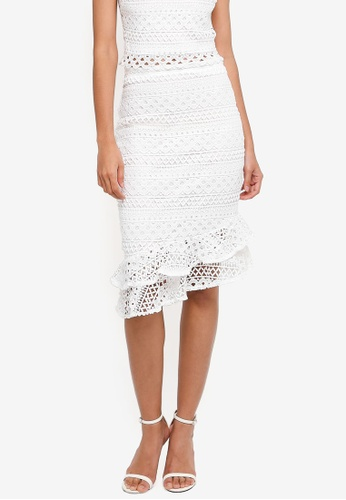 Lipsy white Lace Fluted Hem Co-Ord Skirt 348F0AA9B3DC9AGS_1