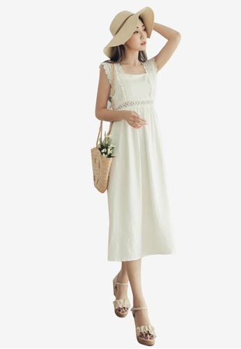 Eyescream white Lace Trim Summer Midi Dress A9AB2AA4814093GS_1