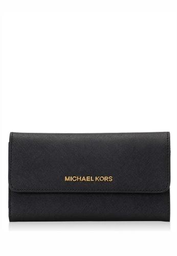 MICHAEL KORS black Michael Kors Jet Set Travel Large Trifold Wallet - Black F4239ACDE4FFD2GS_1