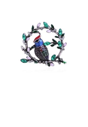Glamorousky green Fashion and Elegant Blue Bird Wreath Brooch with Cubic Zirconia CC0BAACA4E3644GS_1