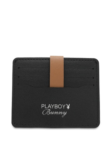 PLAYBOY BUNNY black Women's Card Holder With Coin Compartment / Card Case BF1CBACA5E9934GS_1