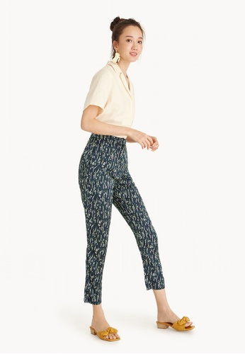 Pomelo navy Floral Cropped Slim Fit Pants 81FCAAA54CD2FEGS_1