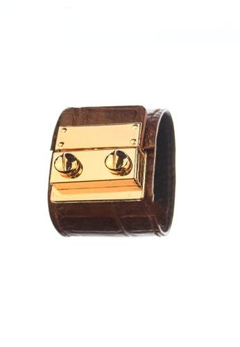 CSHEON brown SECRET CODE CROC SKIN DARK LEATHER BRACELET CUFF 5282CAC5C8A12CGS_1